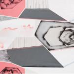 Heart Script4 versions, acryllic on canvas, glitters, 70cm x 170cm, 70cm x 240 cm 4 verze, akryl na plátně, flitry, 70cm x 170cm, 70cm x 240 cm