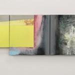 Past the Future 3 paintings to form one, 2 x 30cm x 30cm, 1x 24cm x 18cm,  mixed technique, acrylic on canvas    Přes minulost 3 obrazy tvořící jeden, 2 x 30cm x 30cm, 1x 24cm x 18cm,  kombinovaná technika, akryl na plátně