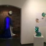 Nonlocal II // Blue Boyfriendlight installation, mixed materials, 200 cm x 200 cmandUntil Now // Destinies // Backwardslight object, 30 cm x 50 cmandHyper Flow I, IIphotographic collage, 80 cm x 66 cm